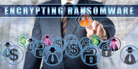 Corporate user is pressing ENCRYPTING RANSOMWARE on an interactive touch screen. Computer security concept for extortionate ransomware, a malicious software attack that restricts data access.