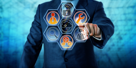 Enterprise client is activating three managed services icons on a virtual control interface with hexagonal buttons. Business and information technology concept for outside IT management. Copy space. Фото со стока
