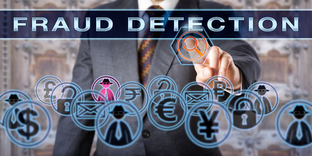 irregularity: Civil or criminal investigator is touching the words FRAUD DETECTION on a transparent control screen. Forensic science and law enforcement concept. Cyber crime and deception metaphor.