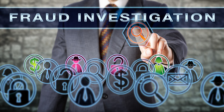 identifies: Law enforcement officer, private detective or forensic analyst pushing FRAUD INVESTIGATION on a transparent screen. His touch activates a magnifier that identifies hacker, suspect and transaction.