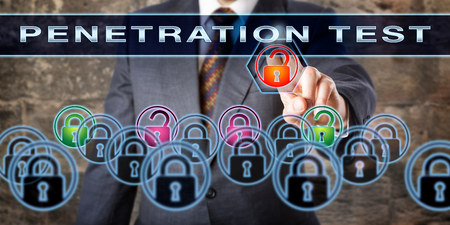vulnerabilities: Corporate software tester pushing PENETRATION TEST on an interactive screen. Information security concept for the process of trouble shooting for potential vulnerabilities, risks and cyber attacks. Stock Photo