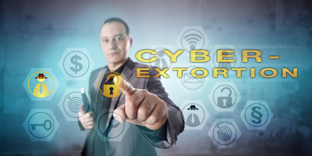 exploit: Busy looking private detective with kind face investigating CYBEREXTORTION in a vigorous gesture. Information technology concept for a threat to exploit a security leak and demands for ransom money. Stock Photo