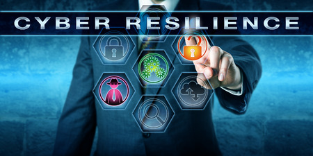 Male computer security manager is pushing the term CYBER RESILIENCE on an interactive control screen. Computing technology concept involving information security and business continuity metaphor. Standard-Bild