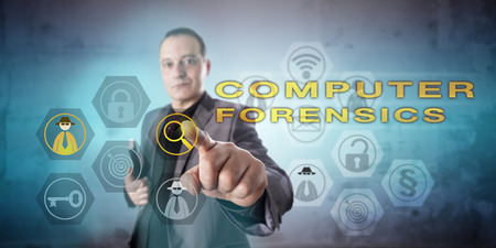 examiner: Digital forensic examiner investigating a COMPUTER FORENSICS case. Kind, confident, yet preoccupied facial expression. Determined and affirmative touch gesture. Concept for digital evidence analysis.