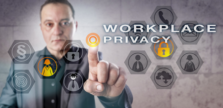 personal data: Experienced employer is monitoring WORKPLACE PRIVACY onscreen. Business concept for surveillance of employee email, phone and internet interactions and legal requirements of personal data protection. Stock Photo