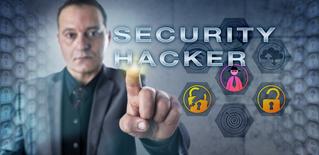 technology metaphor: Investigator with concentrated look is touching SECURITY HACKER onscreen. Information technology metaphor and computer security concept for a cyber attacker exploiting system or network weaknesses.
