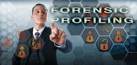 profiling: Experienced and confident criminal investigator is touching FORENSIC PROFILING onscreen. Law enforcement metaphor and information technology concept for forensic examination of trace evidence. Stock Photo