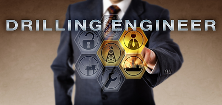 appointee: Technical manager touching DRILLING ENGINEER on an interactive virtual computer screen. Oil and gas industry concept and business role metaphor for a petroleum engineer working offshore or onshore.
