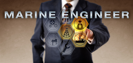 marine industry: Male human resources executive in blue business suit pushing MARINE ENGINEER on an interactive virtual computer screen. Oil and gas career metaphor and petroleum industry professional role concept. Stock Photo