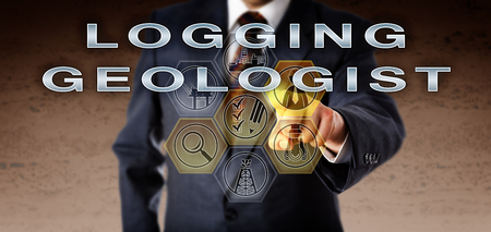 Recruitment agent in blue business suit is pressing LOGGING GEOLOGIST on a remote virtual control screen. Oil and gas industry concept for a service position monitoring and recording drilling data. Stock Photo