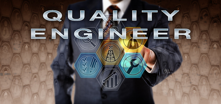 evaluative: Recruitment manager in blue business suit pushing QUALITY ENGINEER on an interactive virtual computer screen. Oil and gas industry job concept for a technical and evaluative engineering role.