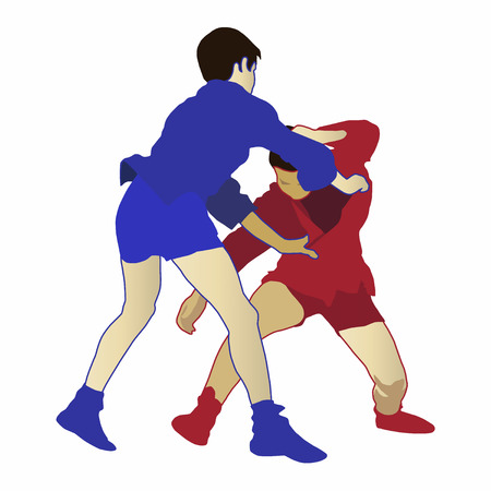 Illustration of two boys engaged in a sambo competition. Concept for Russian combat technique, self defense training, fighting style, sport activity and martial arts. Cutout on white background.