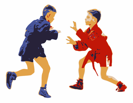 self  defense: Two young boys competing in a sport sambo contest. Illustration isolated on white background. Red and blue combat garments. Concept for self defense technique, martial arts and physical fitness.