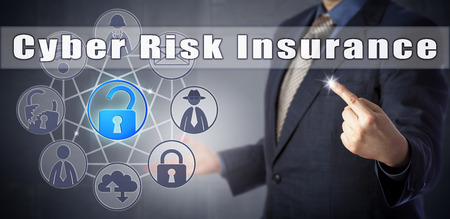 Cyber security consultant in blue shirt offering Cyber Risk Insurance. Information technology metaphor, internet security concept for coverage against loss through hacking, theft or data destruction.