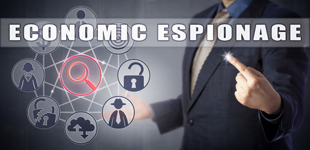 cyberwarfare: Male cyber detective in blue business suit is investigating an ECONOMIC ESPIONAGE case. Corporate crime concept and cybersecurity metaphor for business intelligence and cyberwarfare.