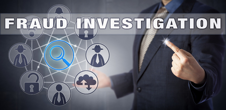 fraudster: Male corporate manager in blue shirt and suit is activating FRAUD INVESTIGATION. Information technology metaphor and computer security concept for the hunt of a civil or criminal fraudster. Stock Photo