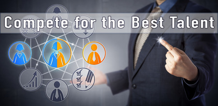 most talent: Recruitment consultant urging to Compete for the Best Talent. Human resources management metaphor and business strategy concept for attracting the most qualified candidates in a competitive market.