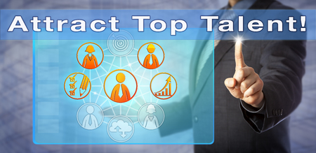 Recruiting consultant is advising to Attract Top Talent! Human resources management metaphor, motivational call to action and business concept for fishing for sourcing the most promising candidates.