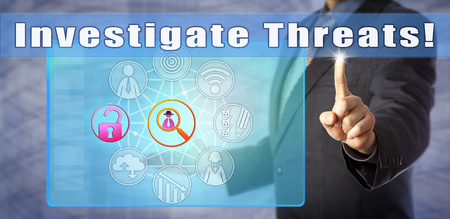 Blue chip computer security consultant urging to Investigate Threats! Call to action and information technology metaphor for cyber investigative response to vulnerabilities, exploits and attacks.