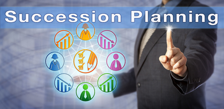 Blue chip executive officer is highlighting a Succession Planning matrix on screen. Human resources management metaphor and business concept for talent-pool management and developing new leaders. Stock Photo