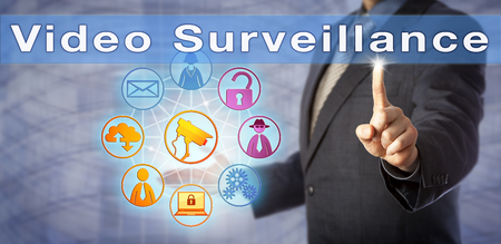 urging: Blue chip corporate security manager is urging for Video Surveillance. Information and security technology metaphor for law enforcement, crime prevention, privacy, and closed-circuit television.