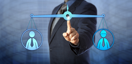 economist: Blue chip manager mediating between a white collar employee and a blue collar worker. Both staff icons do balance out on a virtual weighing scale. Concept for conflict mediation, performance review.