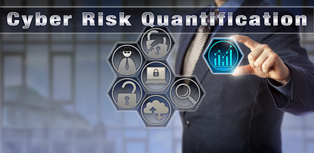 initiating: Blue chip security manager is initiating a Cyber Risk Quantification process via a virtual matrix. Cybersecurity and information technology concept for risk management related to computer security.