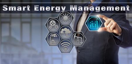 Blue chip corporate manager is remotely controlling energy and power-related information in a virtual Smart Energy Management matrix interface. Industrial technology and internet of things concept. 版權商用圖片