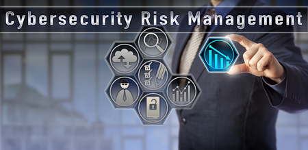Blue chip risk manager or general counsel is evaluating network vulnerabilities in a Cybersecurity Risk Management planning matrix. Computer security concept and cyber threat risk analysis metaphor.