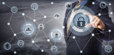 Blue chip executive locking laptop and mobile in a wireless communication network. Concept for internet of things security, smart devices management, remote access control and mobility as a service.
