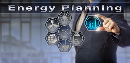 Blue chip power producer plugging trend chart icon into a virtual Energy Planning matrix. Industry and technology concept for energy saving, sustainable development, energy policy and climate change.