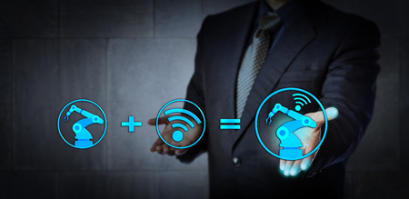 equate: Blue chip consultant offering technology solution. A six axis industrial robot icon plus a wireless data exchange symbol do equate a cyber physical system. Concept for industry 4.0 and smart factory.