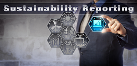 disclose: Blue chip corporate stakeholder is disclosing a growth trend for a sustainable future via a virtual Sustainability Reporting application. Industry and business concept for sustainable development.