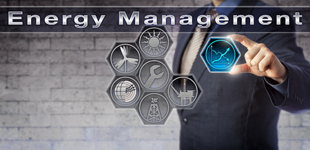 Blue chip production planner plugging a closed virtual growth chart icon into an Energy Management control matrix. Industry and technology concept for resource conservation and energy efficiency.