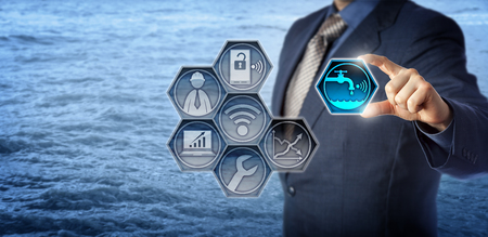 Blue chip civil engineer plugging a smart water metering icon into a virtual monitoring app. Concept for water resource management, water efficiency, environmental engineering and water conservation. Stock Photo
