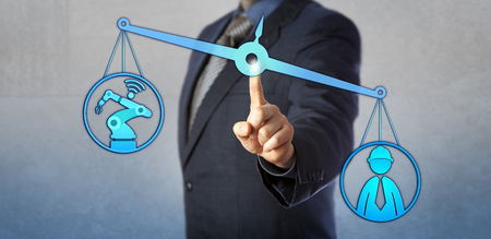 Human labor icon outweighing cyber physical system on virtual weighing scale. Concept for industry 4.0, internet of things, cyber manufacturing, smart factory and connected autonomous machines.