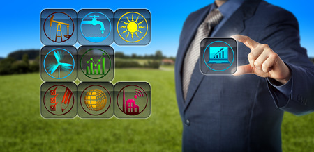 Blue chip accountant engaged in sustainability reporting via virtual planning matrix. Concept for sustainable development, social accounting, corporate social responsibility and sustainable future.
