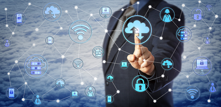 Blue chip corporate client is touching a cloud computing icon in a virtual network. Internet concept for enterprise mobility management, mobile IT, BYOD, cloud storage, backup and data recovery. Stock Photo