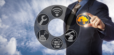 Blue chip service engineer is enabling cloud manufacturing via a virtual control interface. Concept for Manufacturing as a Service or MaaS, technical integration and shared virtualized resources.