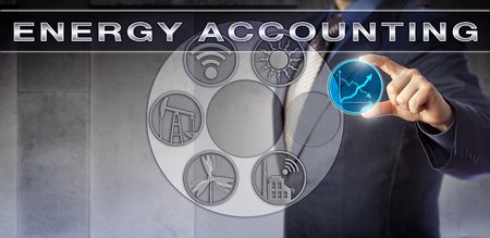 plugging: Blue chip corporate accountant plugging a virtual trending line chart into an ENERGY ACCOUNTING application. Industry and technology concept for improving energy efficiency and measuring consumption.