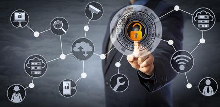 Blue chip manager odblokowuje wirtualny mechanizm blokujący, aby uzyskać dostęp do udostępnionych zasobów chmury. Internetowa koncepcja zarządzania tożsamością i dostępem, przechowywania w chmurze, bezpieczeństwa cybernetycznego i usług zarządzanych.