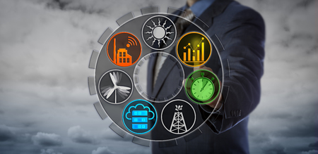 Blue chip control center operator monitoring power network applications. Smart industry concept for energy accounting, cloud based power management system, energy efficiency, and real time data.