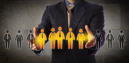 Blue chip recruitment manager selecting a group of five employees in a lineup of worker icons. Business concept for team building, customer segmentation and management succession. Wide composition. Фото со стока