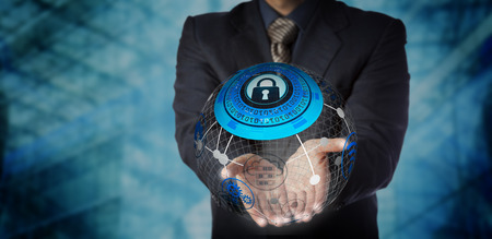 Blue chip manager is offering a secure managed services solution in the two open palms of his hands. IT concept for data storage, mobility management, global communications and computer network.