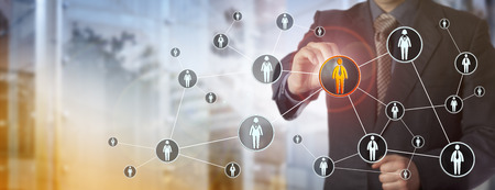 Blue chip recruitment agent highlighting a male white collar worker in a virtual network. HR concept for search for talented employees, qualified staff, marketing and peer to peer networking.