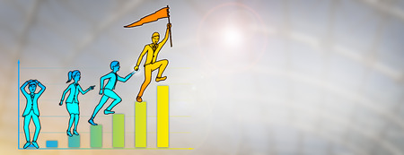 Drawing of young business leader storming uphill to reach the peak of a bar chart with one final leap, while pulling along his reluctant colleagues. Concept for leadership, teamwork, economic growth.