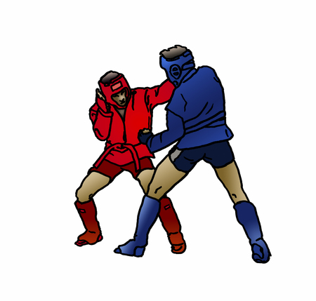 Illustration of two adult male Combat Sambo fighters in fighting position during a competition throwing punches at each other. Concept for Russian martial arts sport and self-defense training.