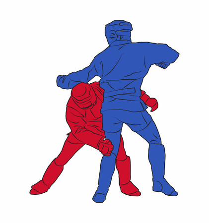 Two adult male Combat Sambo fighters during competition. Red combatant ducking a punch and aiming to grab his blue opponent by the waist to topple him. Concept for Russian self-defense training. Stock Photo