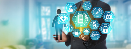 Unrecognizable data administrator accessing a patient personal health record. Information technology and healthcare concept for electronic medical reporting system, remote access to health records. Standard-Bild