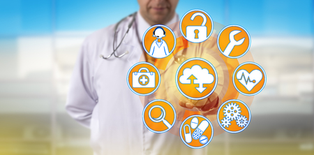 Unrecognizable independent physician is accessing managed services via the cloud. Medical sector and information technology concept for digital health systems, compliance, security and maintenance.